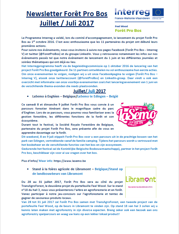 Newsletter Foret ProBos juillet image article